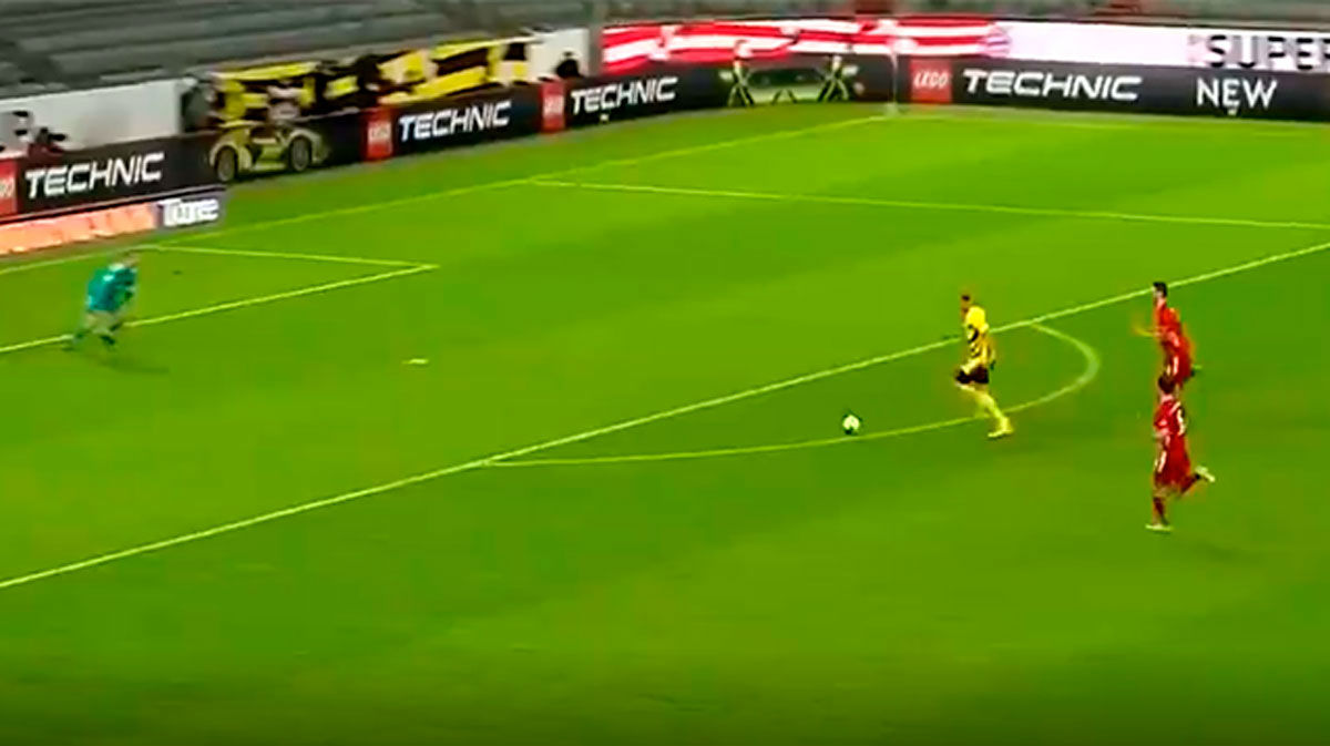 El duelo entre Neuer y Haaland. ¡Atención al paradón del portero alemán!