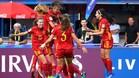 Las jugadoras españolas celebran el 1-0 ante Japón