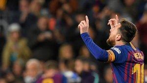 Messi marcó dos goles y logró su doblete número 115 en la Liga