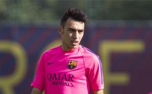 Munir, en un entrenamiento del Barça