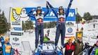 Ogier y su copiloto Ingrassia, en el podio de Suecia