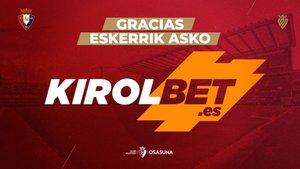 Osasuna comunicó que se desliga de Kirolbet a final de temporada
