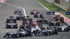 La primera curva del GP de Bahrein fue muy accidentada