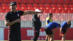 Simeone, durante un entrenamiento