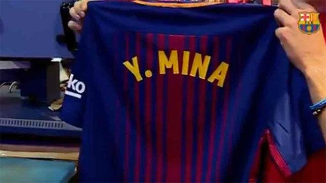 La tienda del Barça ya vende camisetas de Yerry Mina