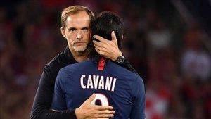 Tuchel junto a Cavani en el PSG