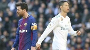Una imagen de Messi y Cristiano Ronaldo en el último clásico