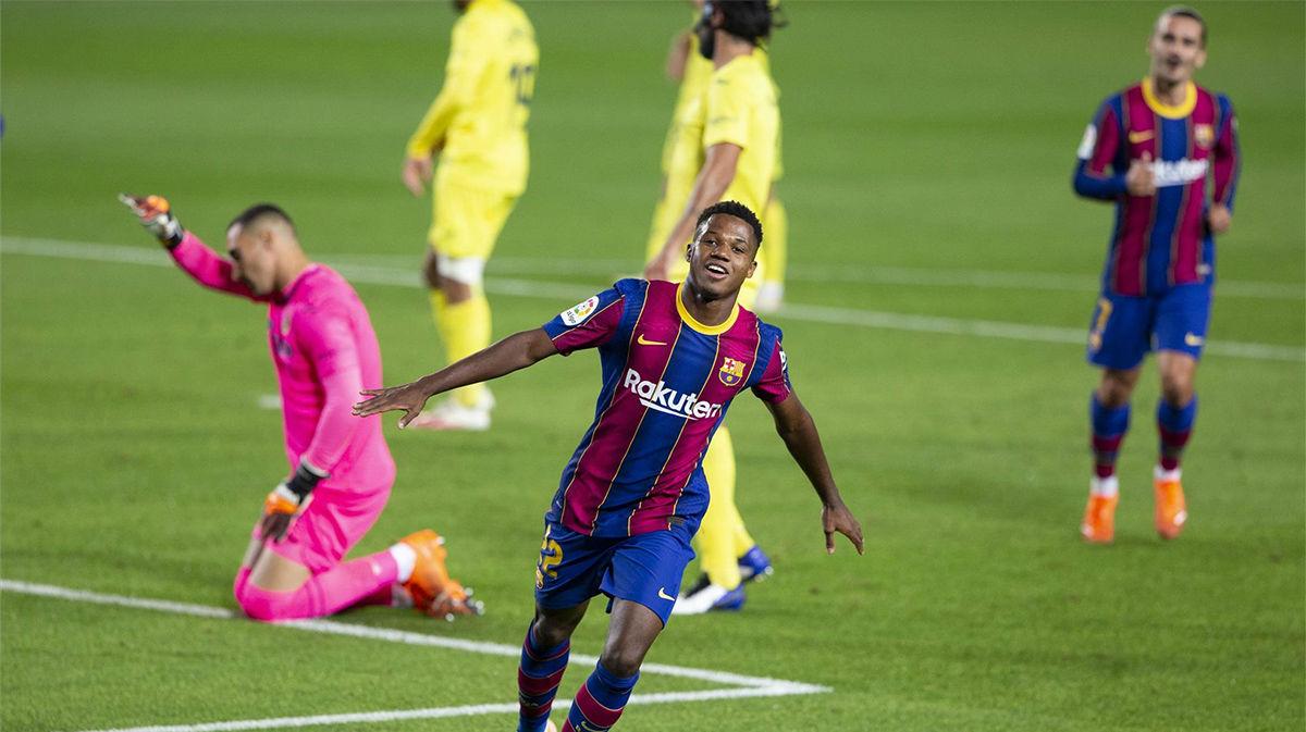 Ansu Fati brilla en el estreno de liga: el doblete y la asistencia ante el Villarreal