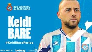 Así ha anunciado el Espanyol el fichaje de Keidi Bare
