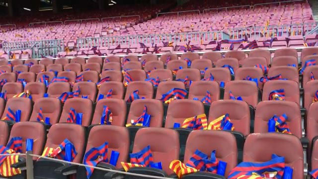 Así luce el Camp Nou en las horas previas al Clásico