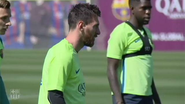 El Barça se entrenó pensando en el Sevilla y en el Málaga