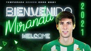 El Betis da la bienvenida a Miranda