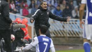 Ernesto Valverde durante el Real Sociedad-Athletic Club (0-2) de la Liga 2016/17 disputado en Anoeta