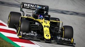 Fernando Alonso, con el Renault en el Circuit de Catalunya