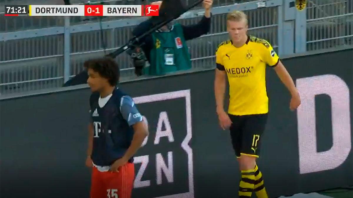 Haaland no pudo terminar el encuentro ante el Bayern