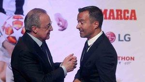 Jorge Mendes, junto al presidente del Real Madrid
