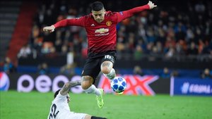 Marcos Rojo, en el Valencia - Manchester United