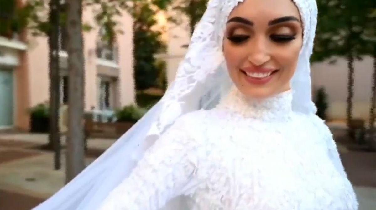 La novia que estaba haciéndose su sesión de fotos cuando hubo la explosión en Beirut