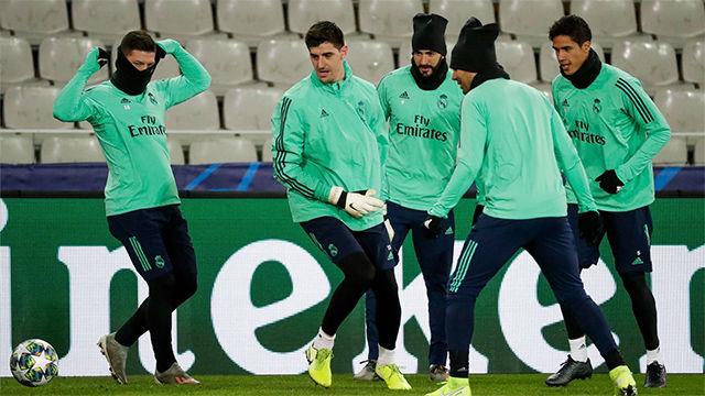Último entrenamiento del Madrid antes de medirse al Brujas