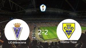 El Unión Deportiva Maracena y el Huétor Tájar empatan a dos en el Ciudad Deportiva Maracena