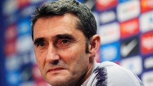 Valverde, en la rueda de prensa previa al Barcelona - Eibar
