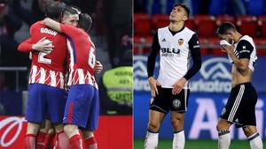 El Atlético ganó y aprovechó la derrota del Valencia