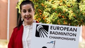 Carolina Marin, con el cartel de los Europeos