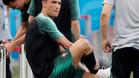 Cristiano Ronaldo, antes de iniciar el entrenamiento en Sochi