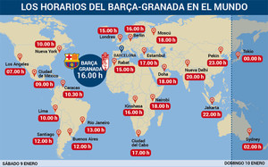 Horarios del Barça - Granada