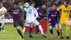 Luis Suárez, Leo Messi y Coutinho en los duelos de la Liga 2017/18 contra Sevilla, Real Madrid y Atlético, respectivamente