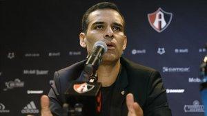 Márquez, durante una rueda de prensa con el Atlas