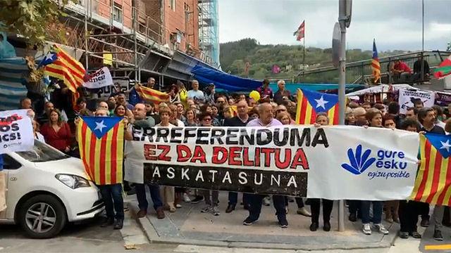 El mensaje solidario de la afición del Eibar con Catalunya