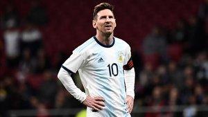 Messi durante el Argentina-Venezuela en el Wanda Metropolitano