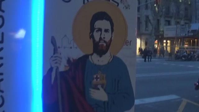 Messi, santificado en un nuevo grafiti en Barcelona: San Lionelus de Barcino
