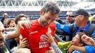 El meta gallego, aclamado en el RCDE Stadium