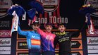 El podio de la clásica con Valverde, Woods y Yates