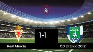 El Real Murcia y El Ejido 2012 sólo sumaron un punto (1-1)