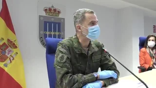 El Rey Felipe con guantes y mascarilla en su último acto oficial