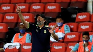 Rufete durante el partido en el Camp Nou