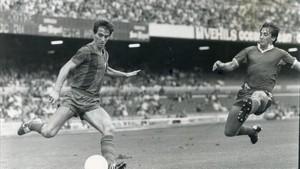Salva, en un partido en el Camp Nou