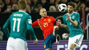 Silva, en el partido de anoche ante Alemania