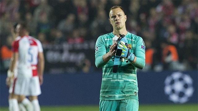 Ter Stegen: Ha sido muy complicado jugar contra el Slavia de Praga