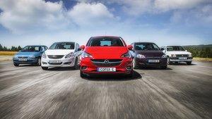 Cinco generaciones del Opel Corsa.