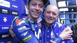 Valentino Rossi y Luca Cadalora, el día de su despedida.