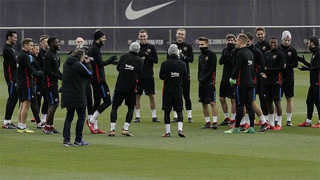 El Barça se entrenó por última vez antes del duelo contra el Celta