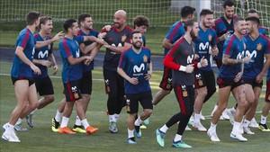 España preparando el partido contra Rusia del próximo domingo 1 de julio