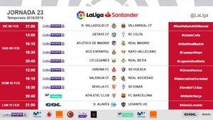 Esta será la jornada 23 de la Liga Santander 2018 / 2019