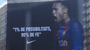 La imagen de Neymar con su famosa frase en una fachada de las calles de Barcelona