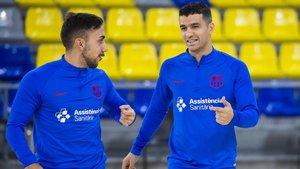 Joselito y Marcenio, en el entrenamiento previo al duelo ante Ribera Navarra
