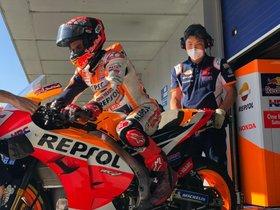 Márquez, en el entrenamiento de Jerez